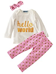 Baby Girl's Cotton Daily Print Clothing Set with Headband Dot Spring/Fall Hello World Baby Girls 3pcs Outfits