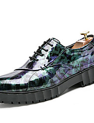 cheap -Men's Shoes Patent Leather Fall / Winter Formal Shoes Oxfords Black / Green / Party & Evening / Printed Oxfords