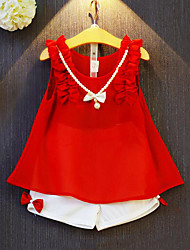 cheap -Girls' Patchwork Clothing Set, Rayon Polyester Summer Sleeveless Bow Ruffle Red