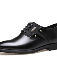 cheap -Men's Shoes Leather Spring Fall Formal Shoes Comfort Oxfords Lace-up for Casual Office & Career Black Brown