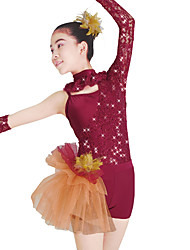 cheap -MiDee Ballet Leotards Women's Children's Performance Lace Tulle Lycra Lace Sequins Long Sleeve Natural