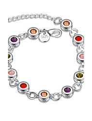 Femme Fille Chaînes & Bracelets Cristal Géométrique Amitié Mode Simple Style Cristal Plaqué argent Forme Ronde Forme Géométrique Bijoux