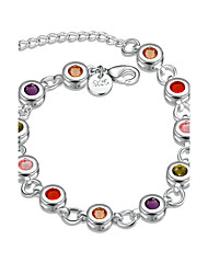 Women's Girls' Chain Bracelet Crystal Geometric Friendship Fashion Simple Style Crystal Silver Plated Round Geometric Jewelry For Wedding