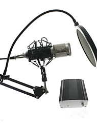 cheap -Metal Computer Capacitive Professional KTV Microphone BM 800 PC 3.5mm Condenser Audio Studio Vocal Recording Mic  With Stand and 48V Phantom Power