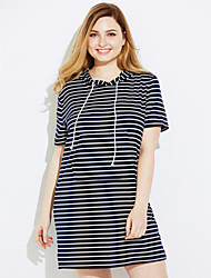 cheap -Women's Work Sheath Dress,Solid Striped Hooded Above Knee Short Sleeves Cotton Spring Mid Rise Micro-elastic Medium