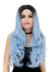 preiswerte -Damen Synthetische Perücken Kappenlos Lang Natürlich gewellt Lila Blau Rose / Grün Silber Lila Gold Pink Gefärbte Haarspitzen (Ombré Hair)