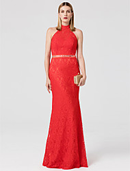 cheap -Mermaid / Trumpet High Neck Floor Length Lace Prom / Formal Evening Dress with Crystal Detailing Sash / Ribbon by TS Couture®