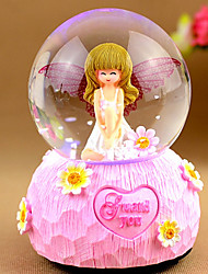 Pattern Originality Lovely Angel Girl Crystal Ball Flash Light Music Floating Box Snow Student Gift
