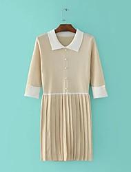 Feminino Tricô Vestido,Para Noite Casual Feriado Simples Moda de Rua Estampa Colorida Colarinho de Camisa Altura dos Joelhos Meia Manga