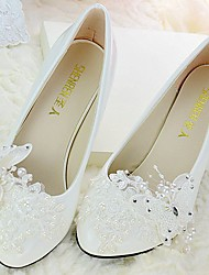cheap -Women's Wedding Shoes Slingback Spring Fall Lace PU Wedding Dress Party & Evening Office & Career Rhinestone Bowknot Applique Beading