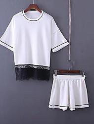 T-shirt Pantalone Completi abbigliamento Da donna Per uscire Spiaggia Semplice Romantico Attivo Estate,Tinta unita Collage Rotonda Pizzo