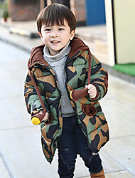 Boys' Print Patchwork Down & Cotton Padded,Polyester Fall Winter Long Sleeve