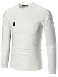 abordables -Tee-shirt Homme, Couleur Pleine - Coton Plissé Sports Soirée Mignon Actif Col Arrondi