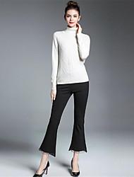 economico -Standard Pullover Da donna-Casual Vintage Stoffe orientali Tinta unita Con stampe A collo alto Manica lunga Seta Cashmere Lana Rayon