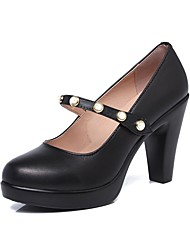 Women's Heels Basic Pump Spring Fall Real Leather Party & Evening Dress Imitation Pearl Magic Tape Platform Black 3in-3 3/4in