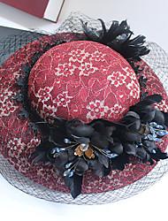 abordables -Tulle Mousseline de soie Dentelle Strass Tissu Soie Filet Fascinators Chapeaux 1 Mariage Occasion spéciale Anniversaire Fête / Soirée