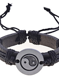 cheap -Men's Charm Bracelet / Leather Bracelet - Leather Unique Design, Fashion Bracelet Black For Christmas Gifts / Daily