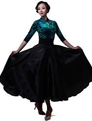 Balli latino-americani Abiti Per donna Esibizione Tulle Chiffon Chiffon vellulato 1 pezzo 3/4 Sleeve di lunghezza Abiti