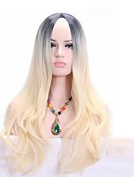 Donna Parrucche sintetiche Senza tappo Medio Ondulati Biondo Parrucca riccia stile afro Per donne di colore Parrucca Cosplay costumi