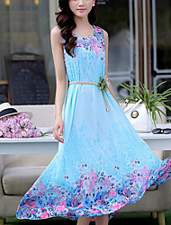 cheap -Women's Chinoiserie A Line Skater Dress - Solid Colored Floral High Rise Maxi