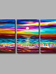 abordables -Pintada a mano Paisaje Artístico Abstracto Moderno/Contemporáneo Oficina/ Negocios Navidad Año Nuevo Tres Paneles LienzosPintura al óleo