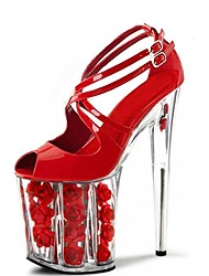 Women's Sandals Formal Shoes Summer PU Dress Party & Evening Buckle Lace-up Flower Stiletto Heel Ruby Clear 5in & over