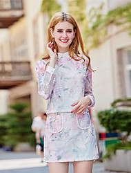 Women's Daily Casual Fall T-shirt Skirt Suits,Solid Print Shirt Collar Long Sleeve Polyester