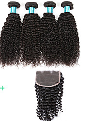 cheap -4 Bundle Kinky Curly Hair Weft With Closure 4X4 Size Brazilian Virgin Hairs Real Human Hairs Women Hair Extensions