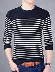 Men's Plus Size Korean Slim O-Neck Striped 100% Cotton Knitted Pullover