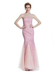 cheap -Mermaid / Trumpet Illusion Neckline Floor Length Lace Formal Evening Wedding Party Dress with Beading Crystal Detailing Embroidery by
