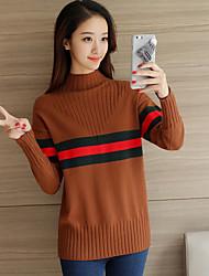 Standard Pullover Da donna-Casual Vintage Tinta unita A collo alto Manica lunga Cashmere Autunno Inverno Medio spessore Media elasticità