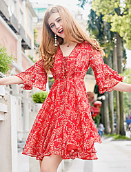cheap -Women's A Line Sheath Chiffon Dress - Floral, Ruffle Print V Neck