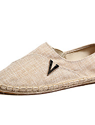 cheap -Men's Loafers & Slip-Ons Espadrilles Linen Spring Fall Winter Casual Office & Career Party & Evening Beige Black Flat