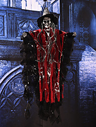 Halloween Props Party Bar KTV Decoration Voice Activated Hanging Skull Skeleton Ghost with Glowing Red Eyes and Sound Effects