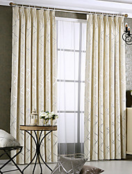Rod Pocket Grommet Top Double Pleated Pencil Pleated Curtain Modern/Comtemporary , Striped Living Room Material Blackout Curtains Drapes