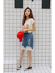 cheap -Women's Daily Going out School Above Knee Skirts,Cute Casual A Line Cotton Solid Summer