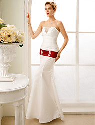 Mermaid / Trumpet Strapless Floor Length Taffeta Stretch Satin Wedding Dress with Beading Ruching by LAN TING BRIDE®