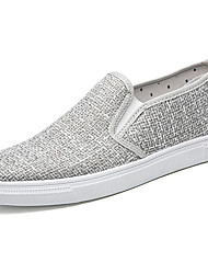 Men's Sneakers Light Soles Spring Fall Linen Casual Flat Heel White Black Light Grey Flat