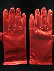 cheap -Faux Leather Wrist Length Glove Bridal Gloves With Pleated Elegant Style