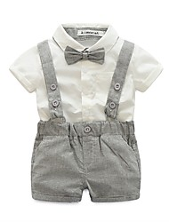 cheap -Boys' Solid Clothing Set,Cotton Polyester Summer Short Pant Brown Gray