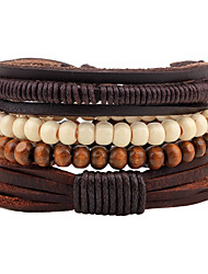 cheap -Men's Strand Bracelet Wrap Bracelet Handmade Fashion Adjustable Personalized Leather Wood Round Jewelry For Street