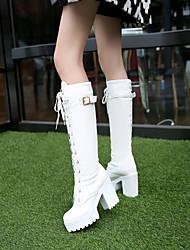 abordables -Mujer Zapatos PU Otoño / Invierno Confort Botas Tacón Bajo Dedo redondo Blanco / Negro