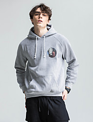 Men's Daily Plus Size Casual Hoodie Print Hooded Inelastic Cotton Polyester Long Sleeve Winter Spring Fall