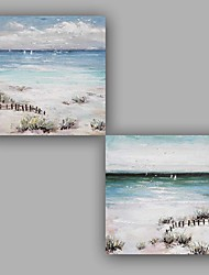 Hand-Painted Abstract / Seascape / Classic Two Panel Canvas Oil Painting For Home Decoration