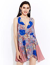 baratos -Mulheres Para Noite Moda de Rua Seda Algodão Reto Bainha Rendas Vestido - Estampado, Floral Decote em V Profundo Altura dos Joelhos Acima