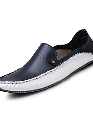 cheap -Men's Loafers & Slip-Ons Comfort Driving Shoes Summer Fall Leather Walking Shoes Casual Outdoor Flat Heel White Blue Flat