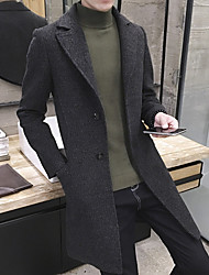 cheap -Men's Daily Going out Simple Casual Spring Fall Coat,Solid Peaked Lapel Long Sleeve Regular Wool Polyester Others