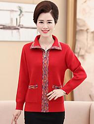 Standard Cardigan Da donna-Casual Con stampe Colletto Manica lunga Cotone Autunno Inverno Medio spessore Media elasticità