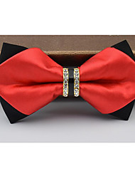 cheap -Men's Polyester Bow Tie,Others Solid Black Silver Red Navy Blue Wine