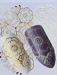 cheap -1pcs White Gold Nail Art 3D Sticker Manicure Decorations Beautiful Flower Design Decals For Nail Art DIY Beauty BP267
